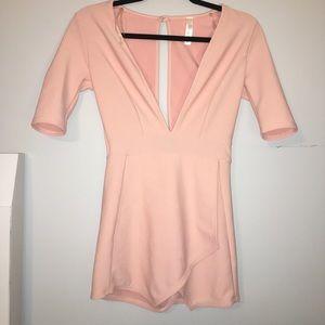 Blush Romper Dress With Slit